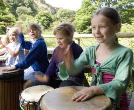 Childern rehearsing for a performance of Totem by Helen Adam